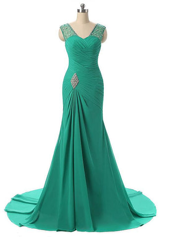 Green Mermaid Evening Dresses With Beadings