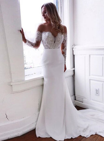 White Mermaid Appliques Satin Long Sleeve Wedding Dress