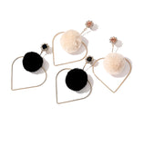 Love Shaped Plush Ball Earrings