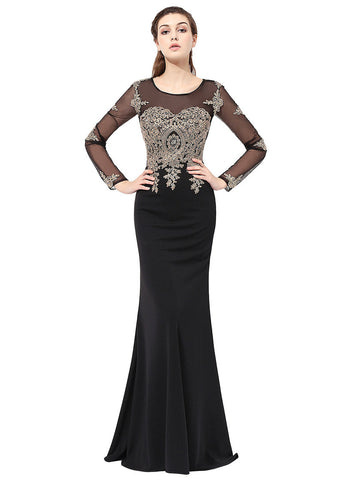 Fabulous Crystal Shuang Ma Jewel Neckline Sheath Evening Dresses With Lace Appliques