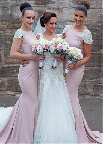 Alluring Stretch Charmeuse Bateau Neckline Mermaid Bridesmaid Dresses With Beadings