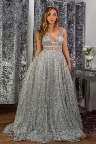 Tulle A Line Sparkle Silver V Neck Sequin Prom Dress