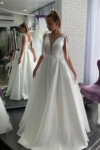 A Line Satin Bow Sexy Sheer Neck Wedding Dress