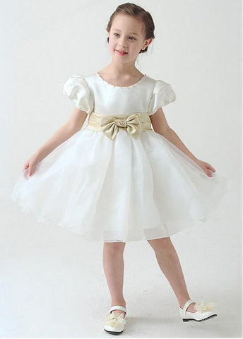 Lovely Satin & Organza Scoop Neckline Ball Gown Flower Girl Dresses With Beads
