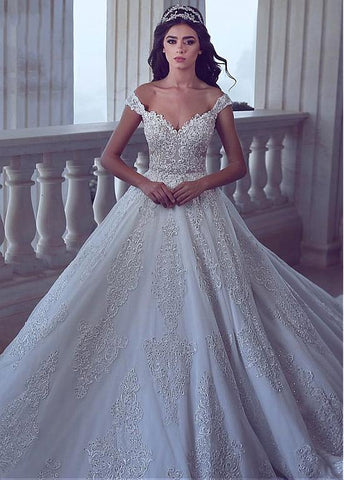 Beading Off-the-shoulder Sequin Lace Appliques A-line Wedding Dress