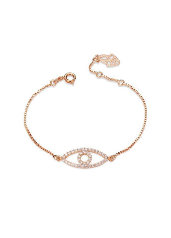 Rose Gold Evil Eye Bangle Bracelet