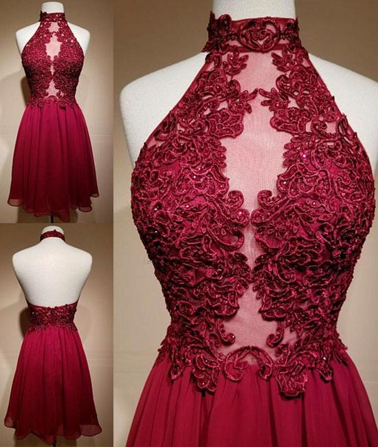 07112512d28 High Neck Backless Burgundy Lace Short Prom Dress – Sassymyprom