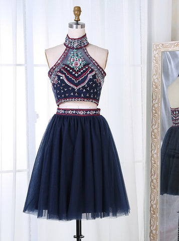 Two Piece Navy Blue Embroidery Homecoming Dress
