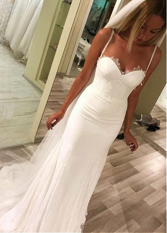 Chiffon Spaghetti Straps Sheath Column Wedding Dress With Belt