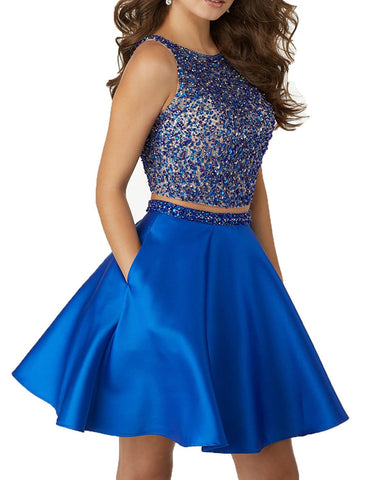 Satin Short Two Piece Homecoming Dresses For Juniors