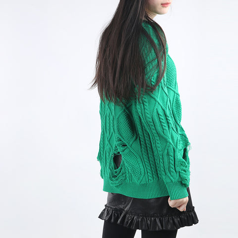 Solid Hollow Solid Color Round Neck Sweater
