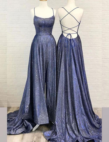A Line Halter Navy Blue Long Prom Dresses Split Front Criss Cross