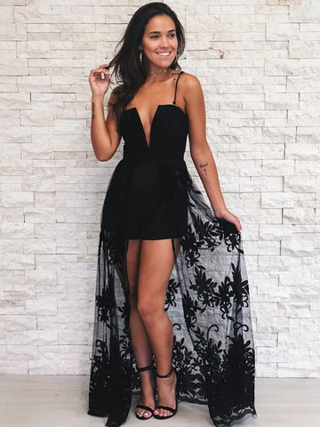 A Line V Neck Spaghetti Straps Lace Black Prom Dress