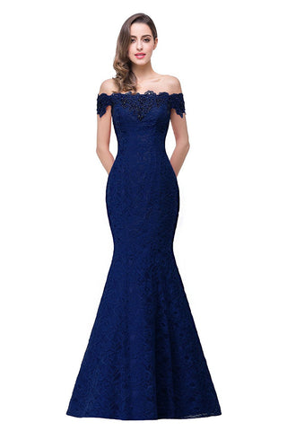 Off Shoulder Lace Long Bridesmaid Maxi Prom Dress