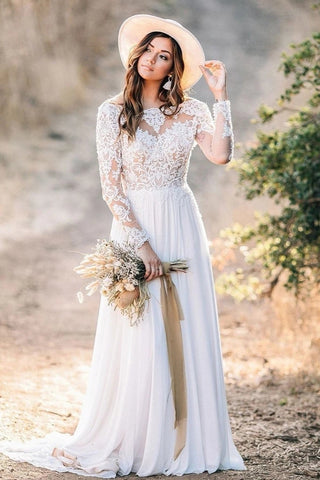 See Through Neck Lace Top Chiffon Long Sleeve Wedding Dress