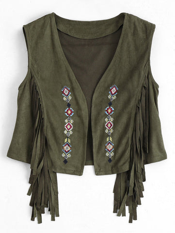 Embroidered Faux Suede Fringed Waistcoat