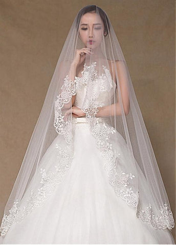 Beautiful Tulle Wedding Veil With Lace