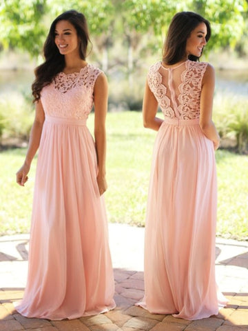 Pink Lace Scoop Sashes Floor-Length Prom Dress