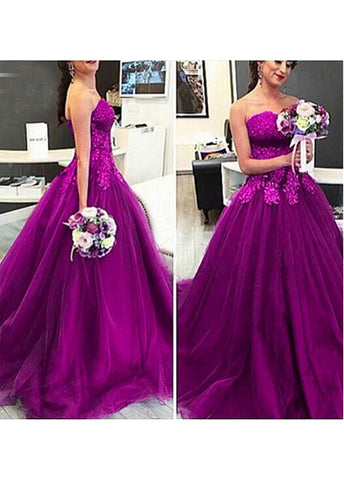 Purple Exquisite Tulle Sweetheart Neckline Ball Gown Evening Dresses With Lace Appliques