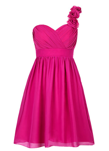 Short One-shoulder Fuchsia Bridesmaid Dress With Flowers