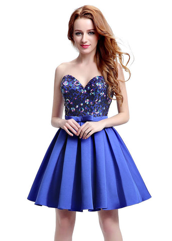 Glamorous Satin Sweetheart Neckline Short-length A-line Homecoming Dresses With Bowknot