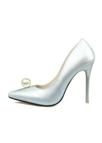 Graceful PU Upper Pointed Toe Stiletto Heel Bridal Shoes With Pearl