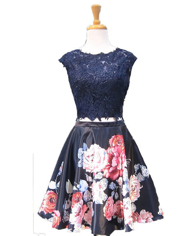 Floral Navy Short Homecoming Dresses