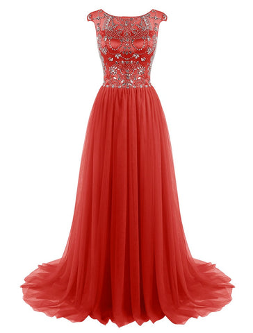 Beaded Tulle Cap Sleeves Long Prom Dress