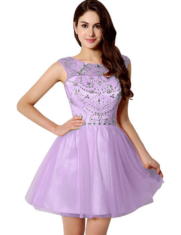 Short Lavender Tulle Homecoming Dress