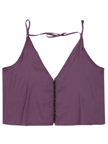 Purple Button Up Spaghetti Strap Crop Tank Top