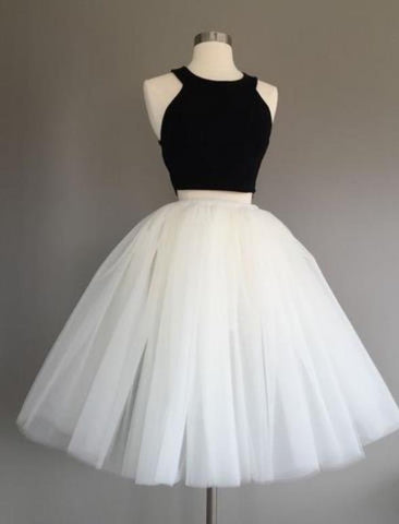 Black Top White Tutu Skirt Two Piece Homecoming Dress