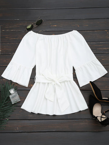 White Flare Sleeve Belted Blouse