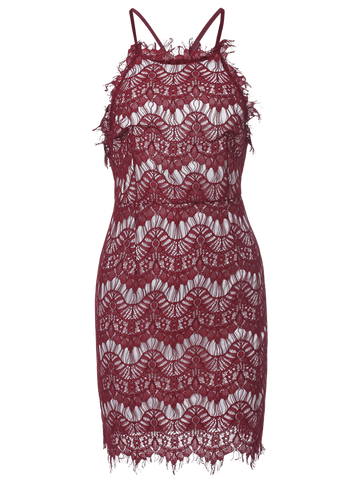 Burgundy Lace Spaghetti Straps Semi Formal Dress