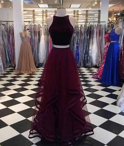 Two Pieces Burgundy Long Prom Dress