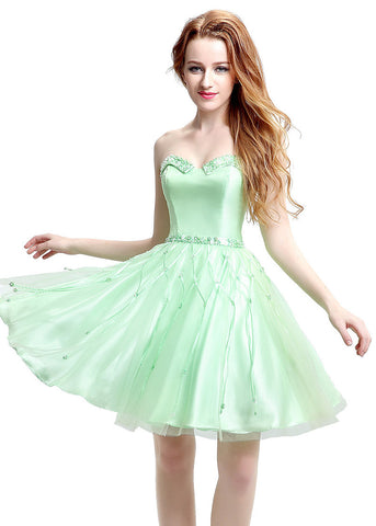 Romantic Satin & Tulle Sweetheart Neckline Short-length A-line Homecoming Dresses With Beadings