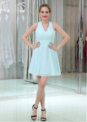 Sweet Chiffon V-neck Neckline Short Length A-line Homecoming Dresses
