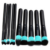 Cosmetic Foundation Set Kit 10Pcs Professional Eyeshadow Makeup Brushes Powder