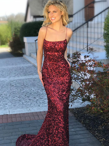 Sheath Spaghetti Straps Red Sequined Prom Dress