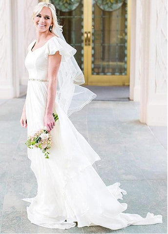 Silk-like Chiffon Asymmetrical Beadings Wedding Dress