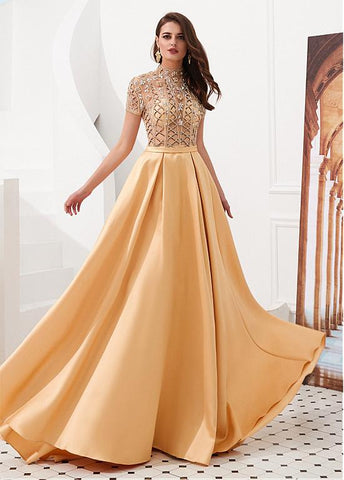 Tulle & Satin High Collar Gold  A-line Prom Dress