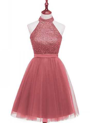 Beading Keyhole Back Homecoming Dress