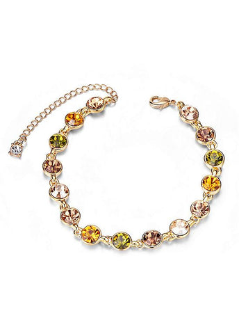 Yellow and Green Round Austrian Crystals Bracelet