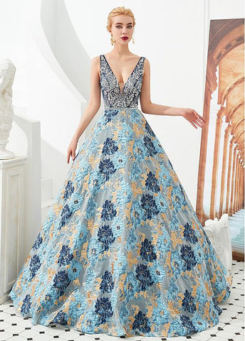 Tulle V-neck A-line Floral Formal & Evening Dress with Beading