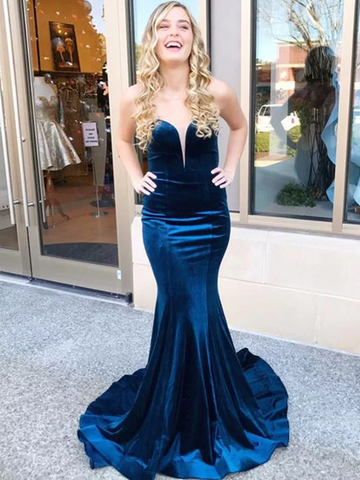 Trumpet Mermaid Sweetheart Blue Ruffles Velvet Prom Dress
