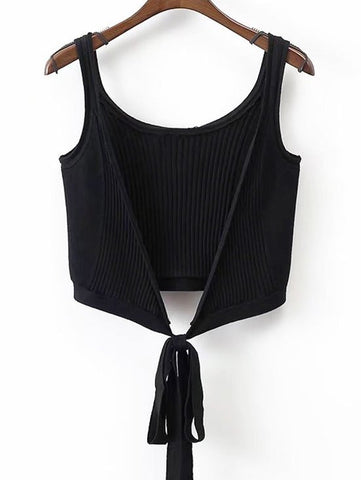 Black Ribbed Beach Cover Up Crop Wrap Top
