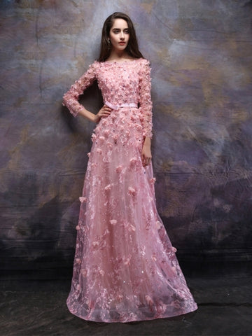 Appliques A-Line Flowers Beading Bateau Lace Floor-Length Evening Dress