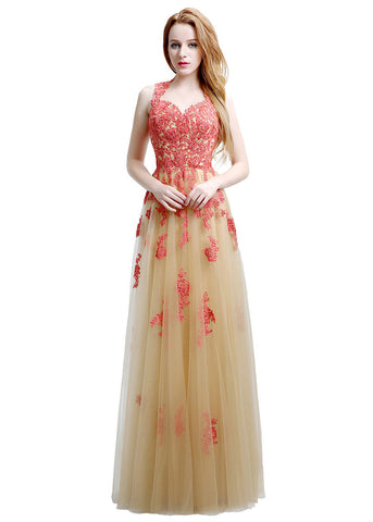 Romantic Tulle Queen Anne Neckline Cut-out Floor-length A-line Prom Dresses With Pockets