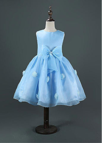 Lovely Organza Jewel Neckline Ball Gown Flower Girl Dresses With Handmade Flowers