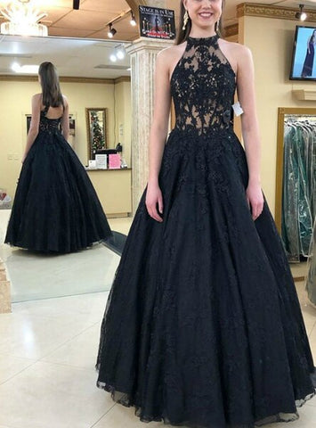 Tulle Lace Halter Backless Appliques Black Prom Dress