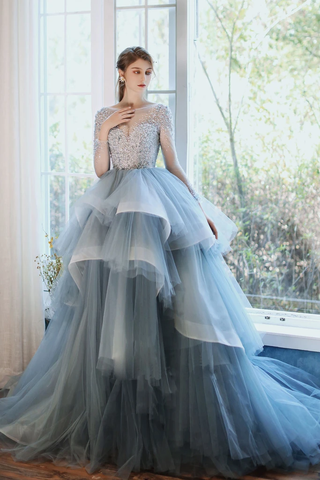 Lace Up Ruffles Blue Long Sleeve Beading Tulle Prom Dress